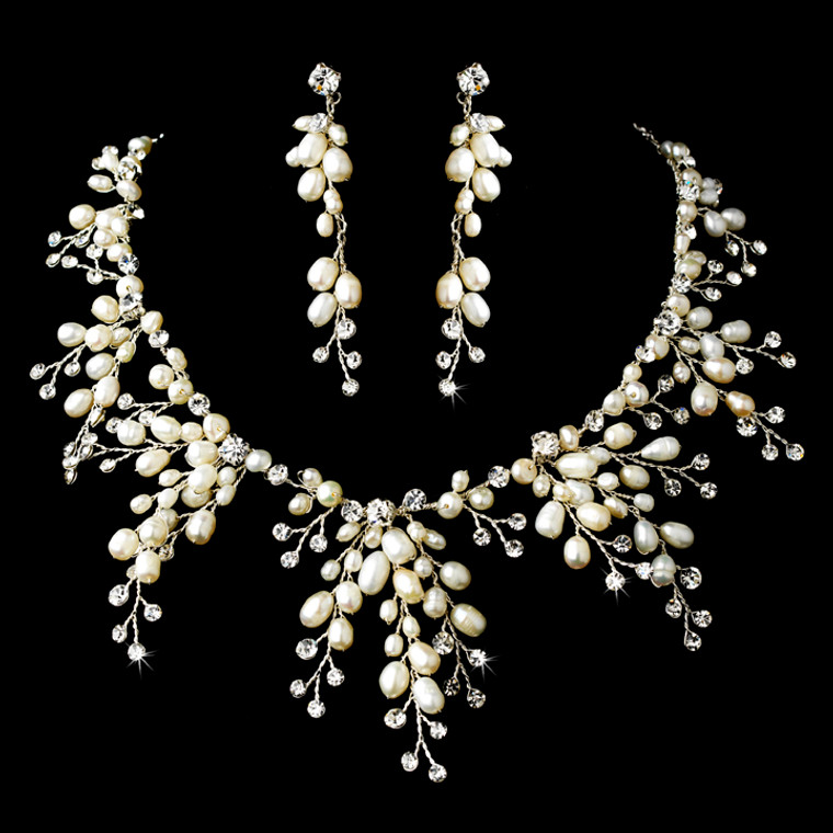 Freshwater Pearl and Crystal Bridal Jewelry Set