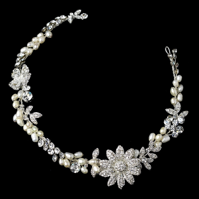 Freshwater Pearl and Crystal Flower Wedding Hair Clip Headband