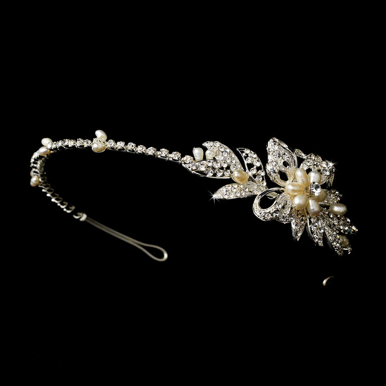 Floral Pearl Side Accent Bridal Headband