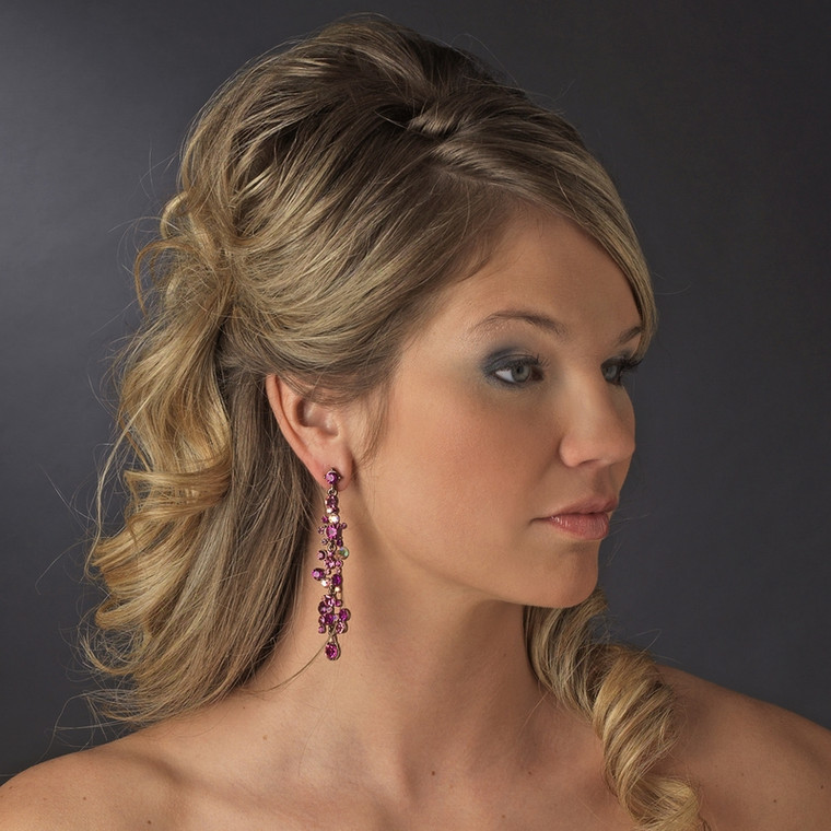 Fuchsia Crystal Drop Bridal and Prom Earrings