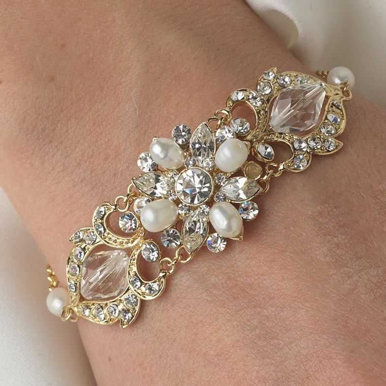 Gold Crystal and Freshwater Pearl Bridal Bracelet