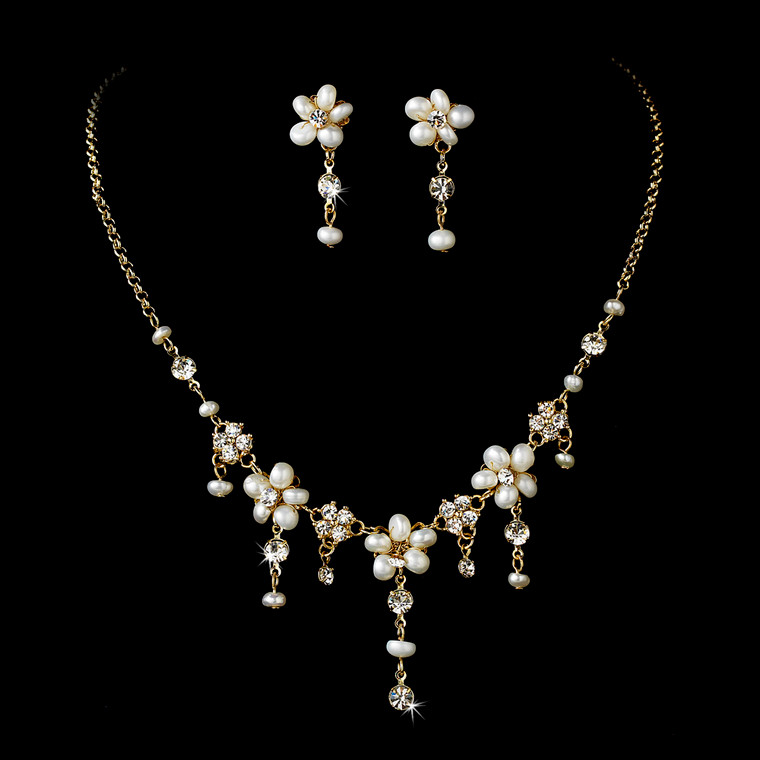 Gold Floral Cascade Ivory Pearl Bridal Jewelry Set