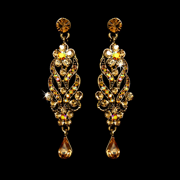 Gold Plated Topaz Prom and Bridal Chandelier Earrings