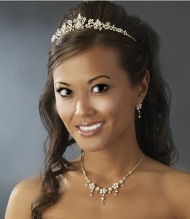 Gold Plated Floral Ivory Bridal Tiara and Jewelry Set