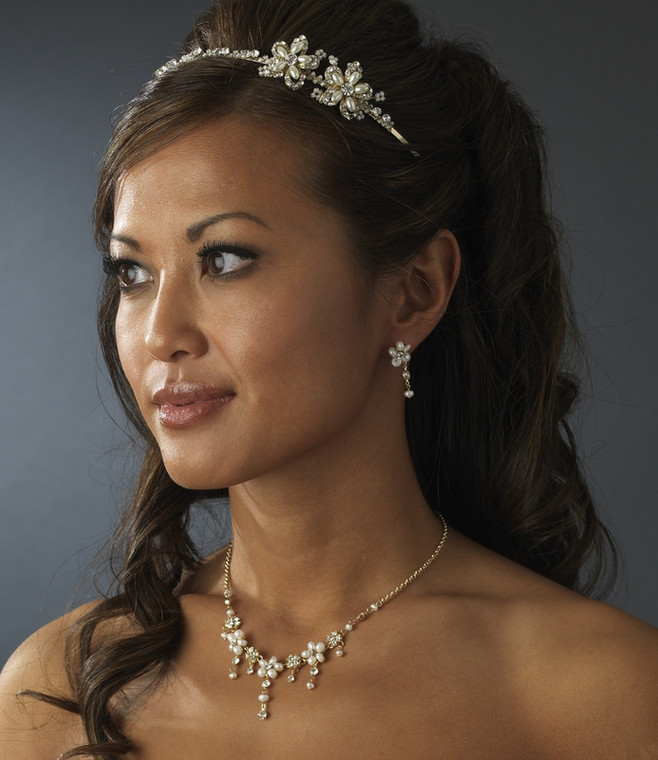 Gold Plated Pearl and Crystal Wedding Headband and Jewelry