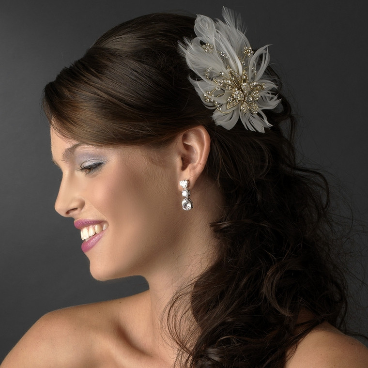 Chic Gold Plated Rhinestone Feather Fascinator Bridal Clip