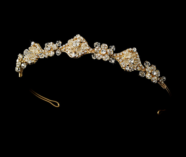 Gold Crystal Wedding Tiara Headband