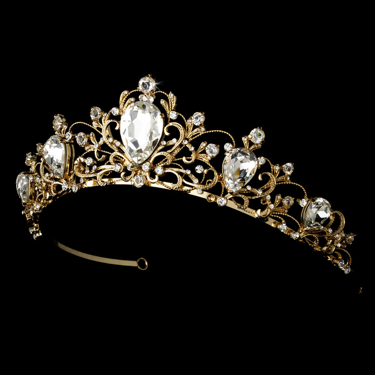 Gold Plated Vintage Inspired Bridal and Quince Tiara Headpiece