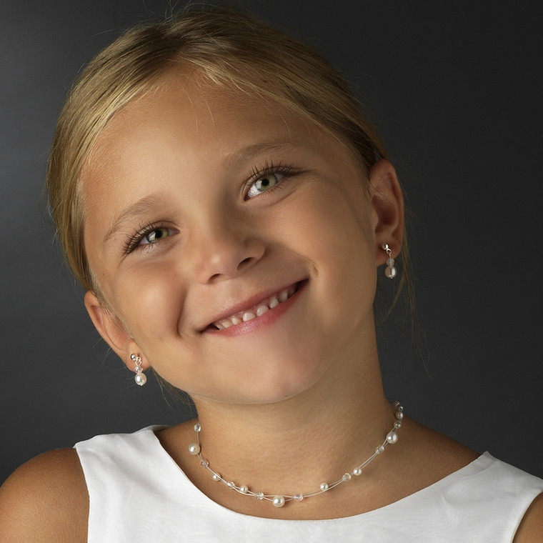 Illusion Pearl and Crystal Flower Girl Jewelry Set