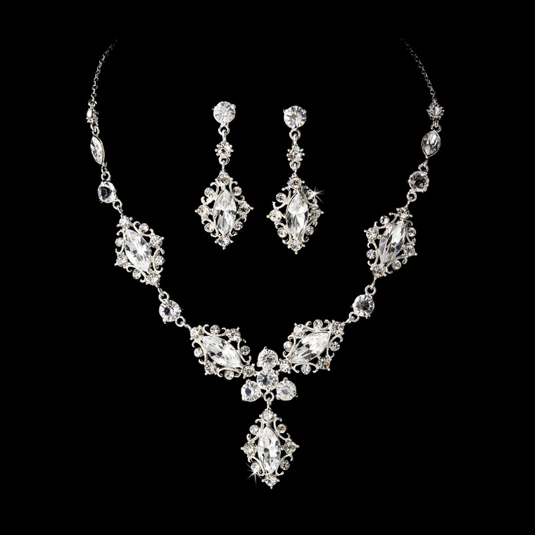 Intricate Silver Plated Bridal Jewelry Set