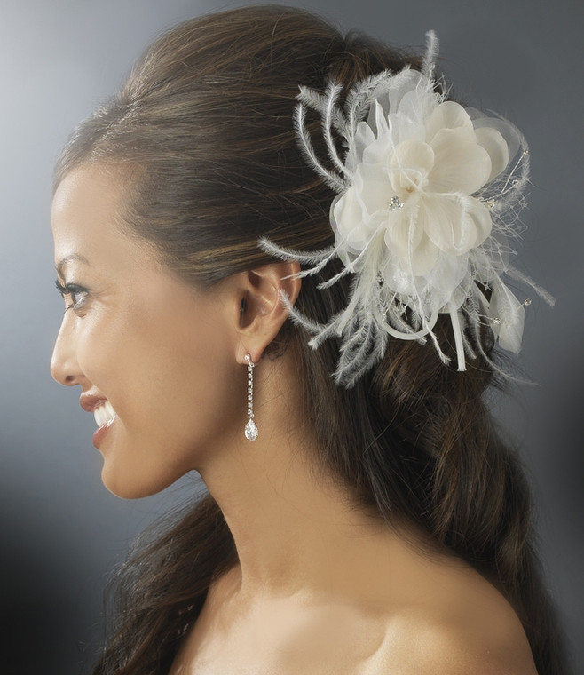 Ivory and Rum Pink Blush Hair Flower Feather Fascinator