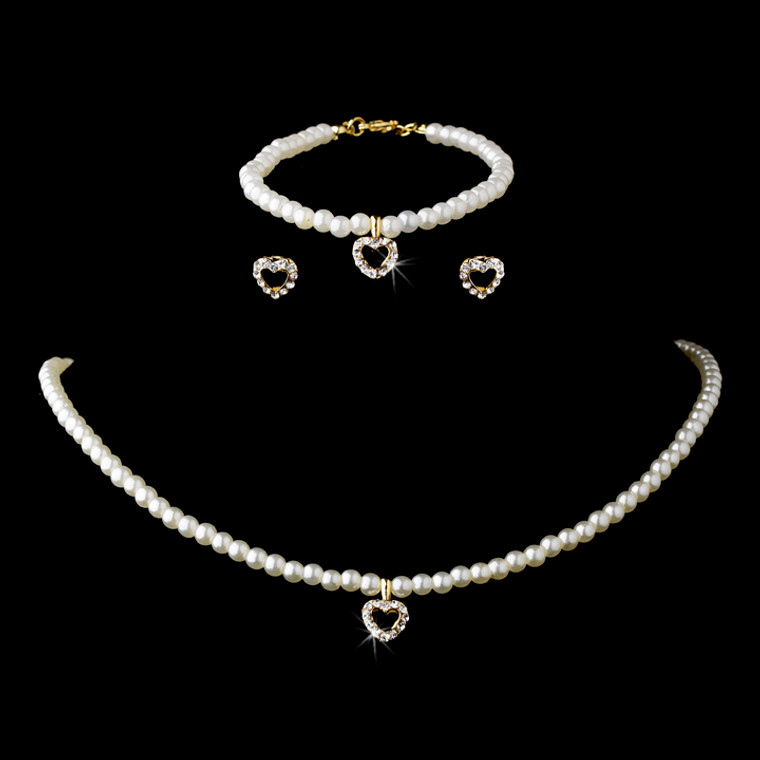 Ivory Pearl with Gold Heart Children's Jewelry Set