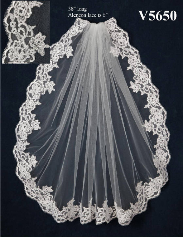 JL Johnson Bridals V5650 Lace Edge Fingertip Wedding Veil