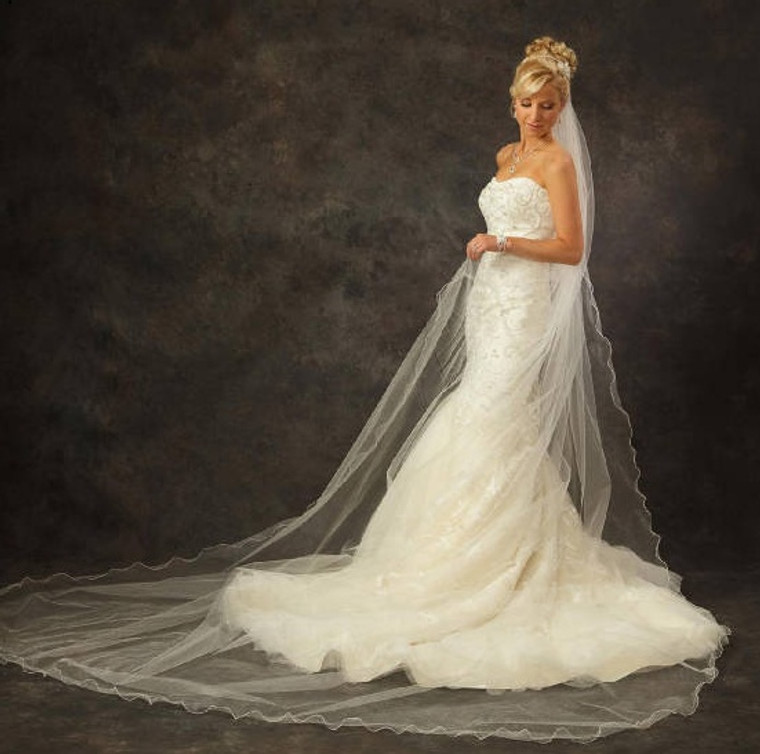 Extra Wide and Extra Long V120 Curly Edge Royal Cathedral Wedding Veil