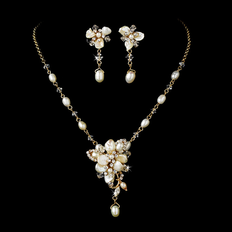 Keshi Pearl Gold Plated Bridal Jewelry Set