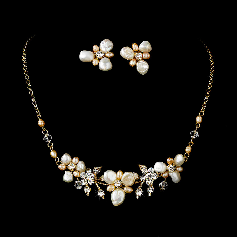 Keshi and Rum Pink Pearl Gold Plated Beach Wedding Jewelry Set