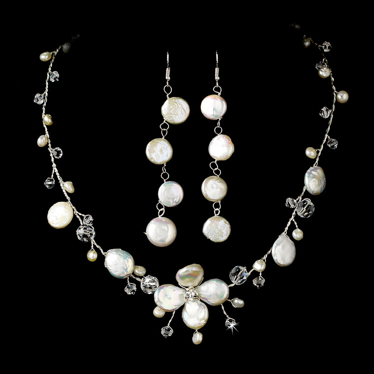Coin Pearl and Crystal Beach Theme Wedding Jewelry Set