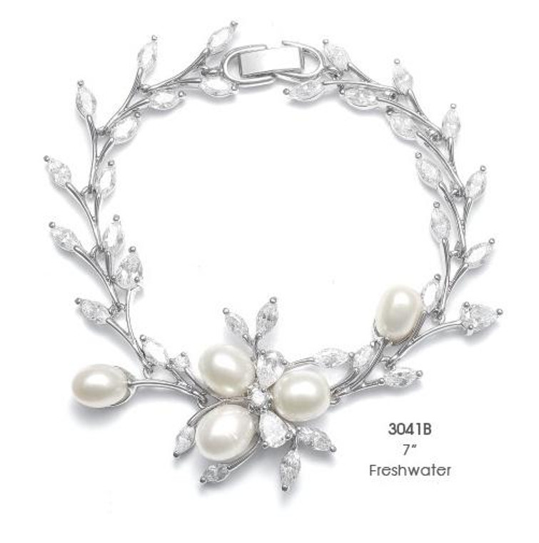 Freshwater Pearl and CZ Bridal Bracelet - sale!