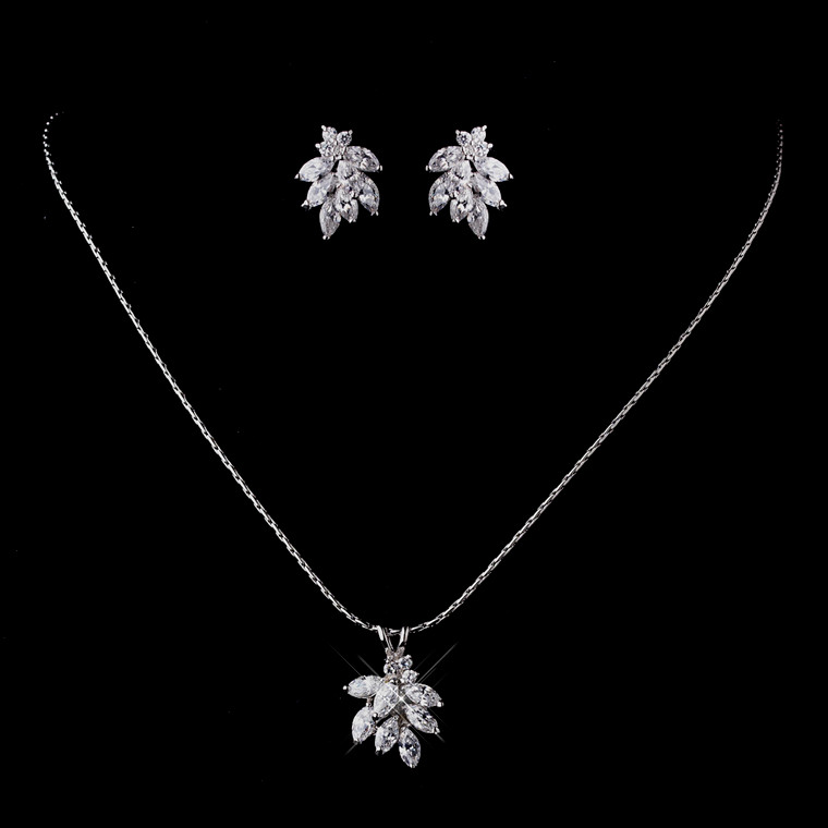 Marquis CZ Cluster Bridal and Prom Jewelry Set