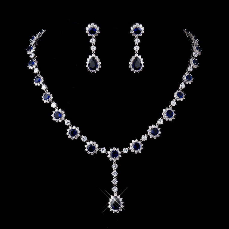 Gorgeous Sapphire Blue CZ Bridal and Formal Jewelry Set