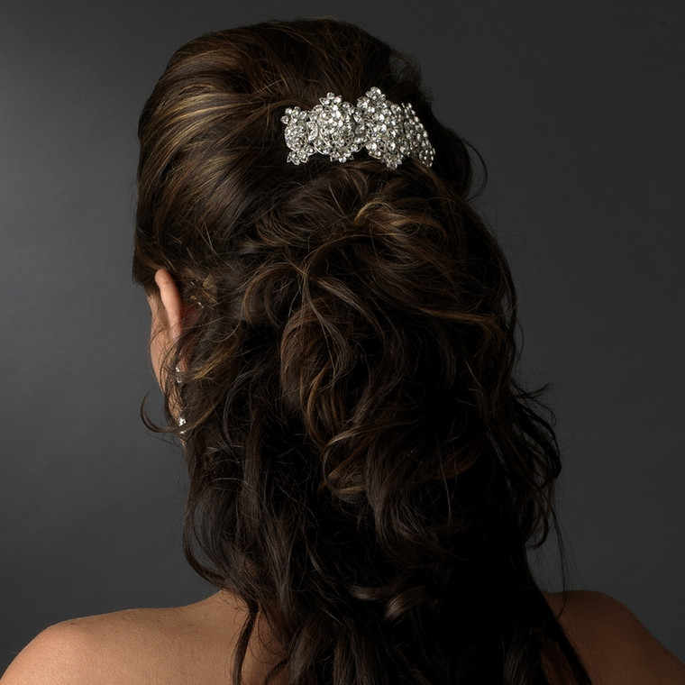 Crystal Glam Silver Plated Wedding and Prom Barrette