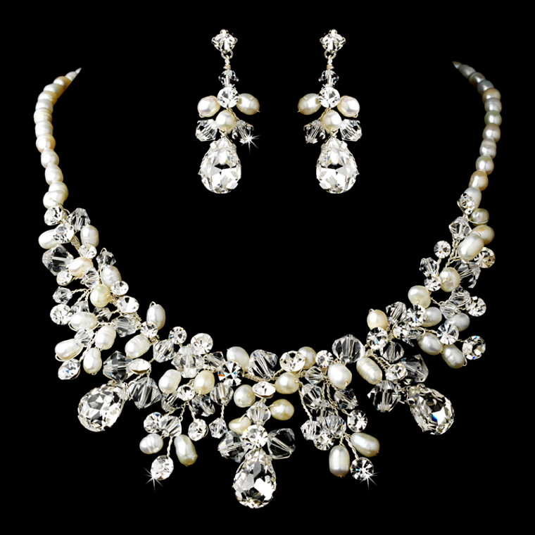 Glamorous Pearl and Crystal Bridal Jewelry Set