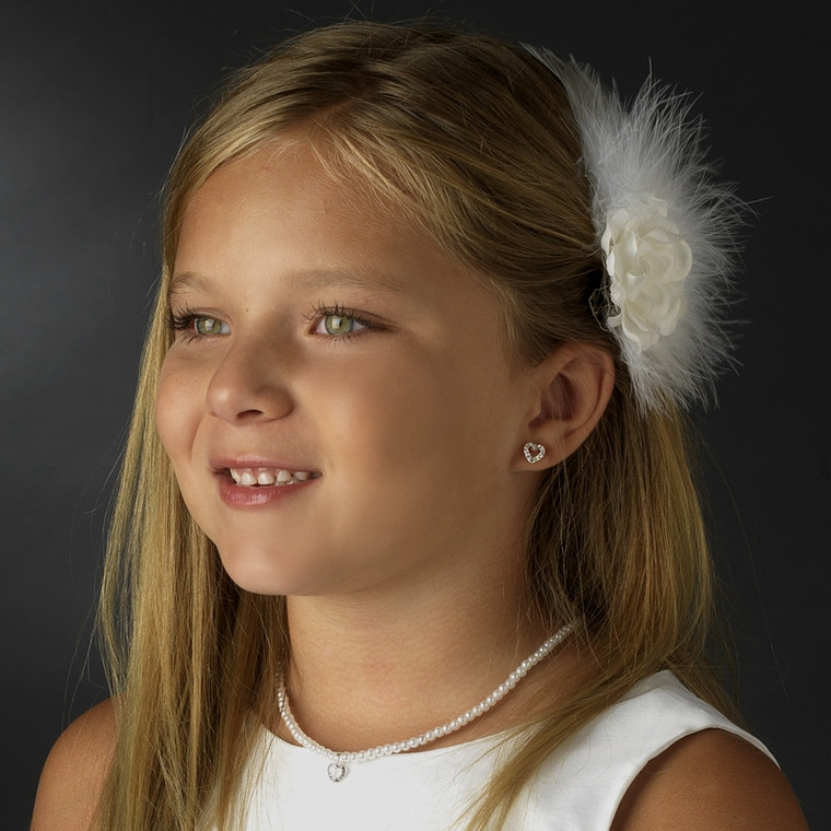 Pearl and Heart Flower Girl Jewelry Set with Bracelet