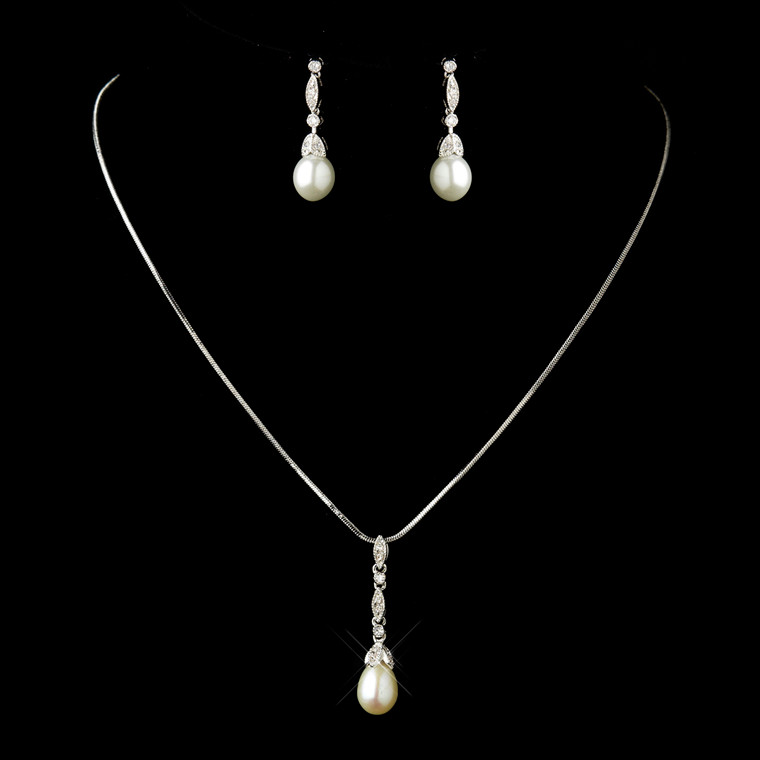 Diamond White Pearl and CZ Antique Silver Bridal Jewelry Set