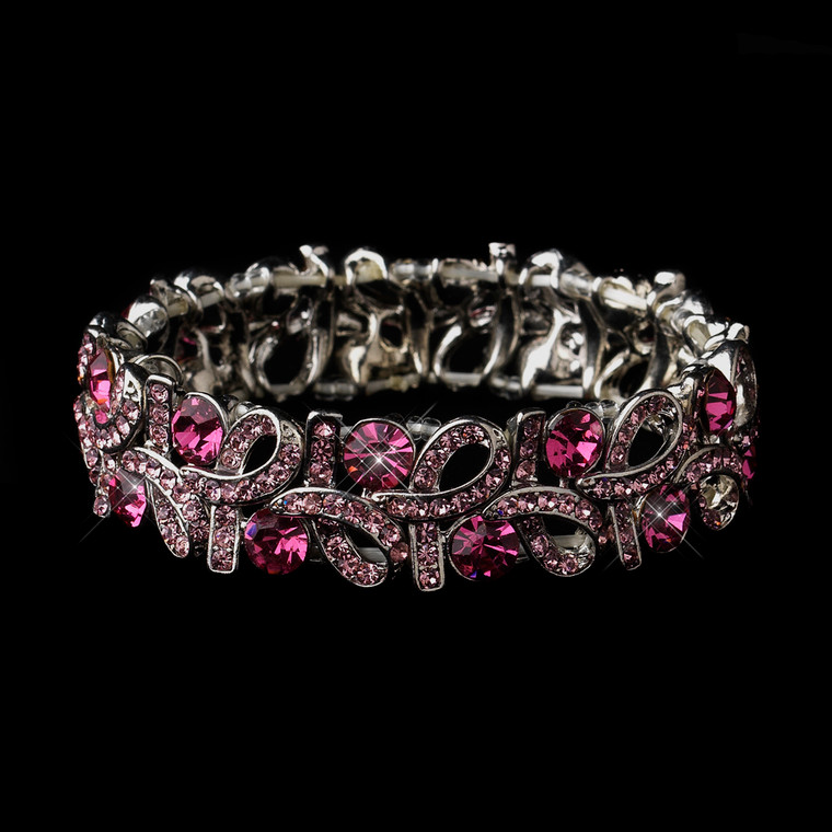 Pink Crystal Stretch Bracelet for Prom and Wedding