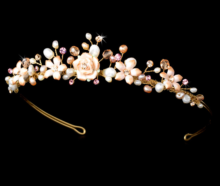 Pink Porcelain Floral Gold Plated Bridal Tiara