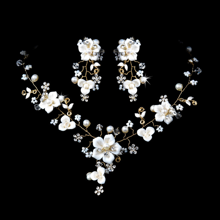 Gold  Plated Porcelain and Pearl Bridal Jewelry Set