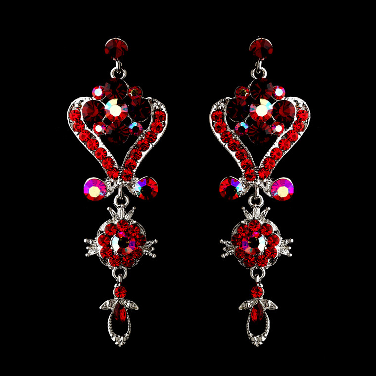 Red Chandelier Wedding and Prom Earrings