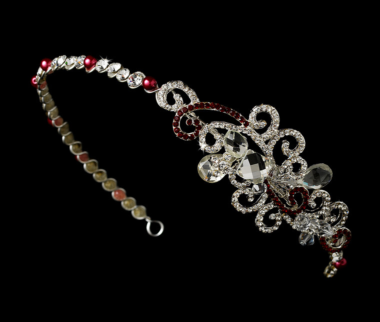 Red Crystal Bridal and Prom Headband with Side Accent