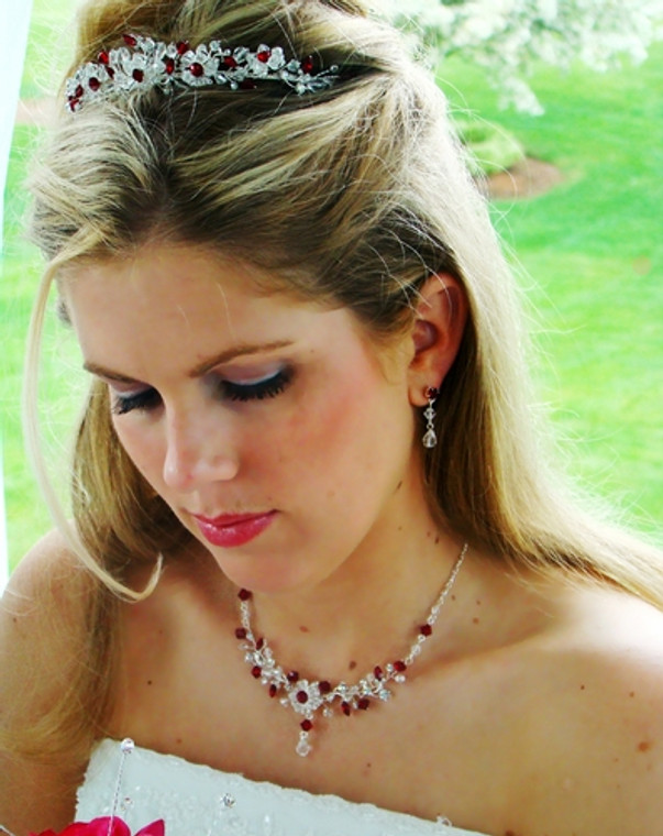 Red and Clear Crystal Wedding Tiara and Jewelry Set