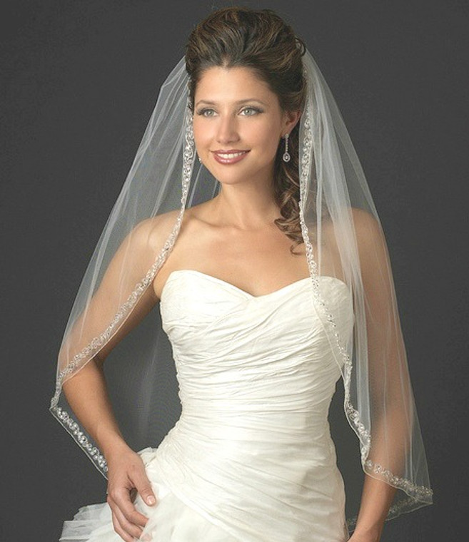 Couture Rhinestone and Crystal Beaded Fingertip Wedding Veil