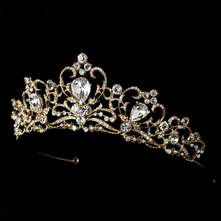 "Fairytale 2"" Gold Plated Rhinestone Bridal Tiara"