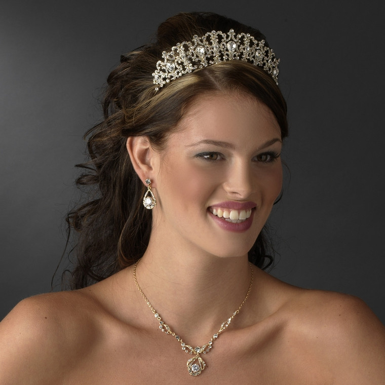 Royal Gold or Silver Plated Wedding Tiara and Matching Jewelry Set