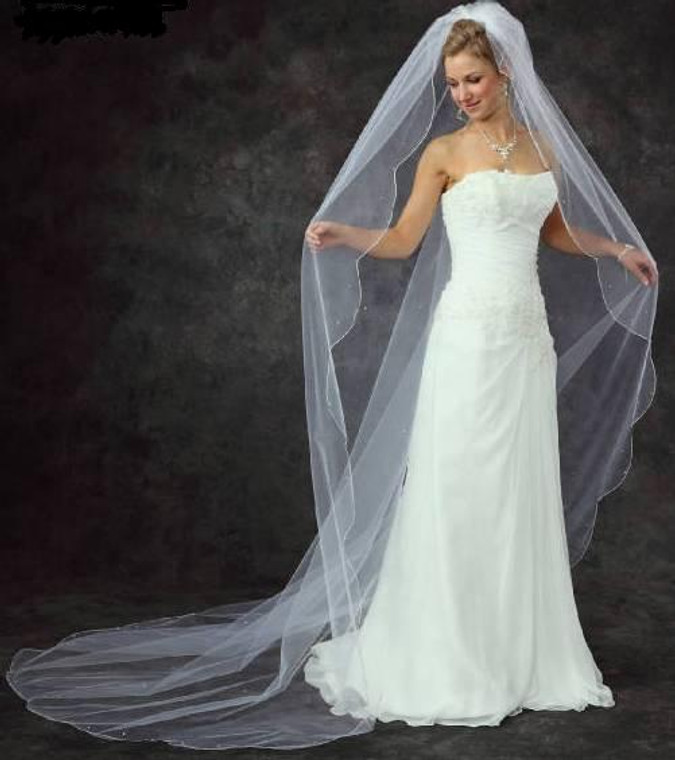 Scallop Edge Beaded Extra Wide Cathedral Wedding Veil