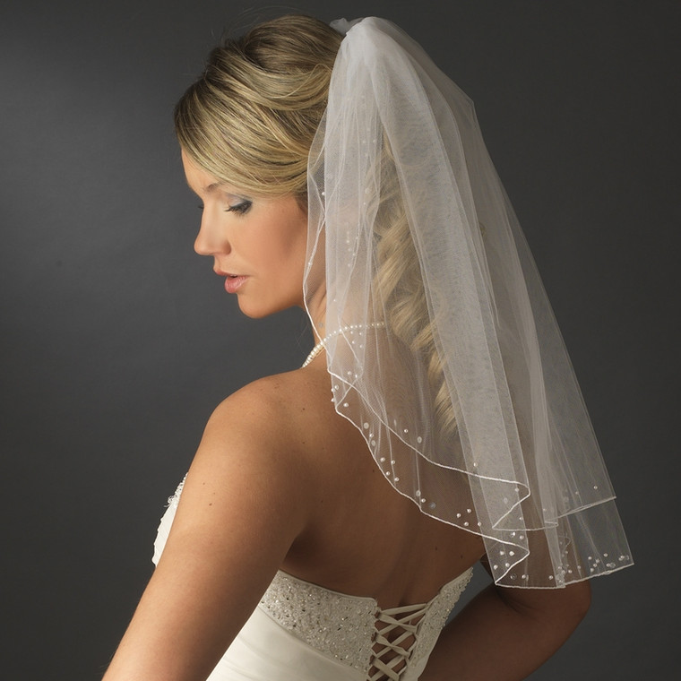 Shoulder Length Wedding Veil with Sequins and Pearls