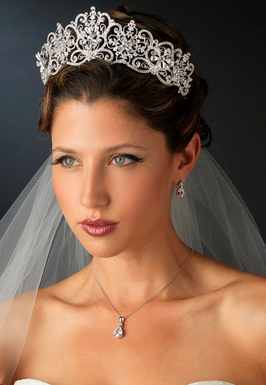 "Silver Plated 2 1/2"" Royal Wedding or Quinceanera Tiara"