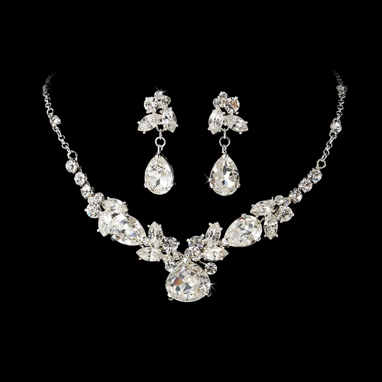Silver Plated Crystal Bridal Jewelry Set