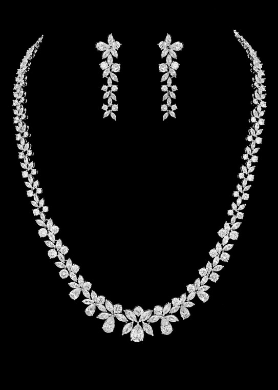 Silver Plated Cubic Zirconia Bridal Jewelry Set
