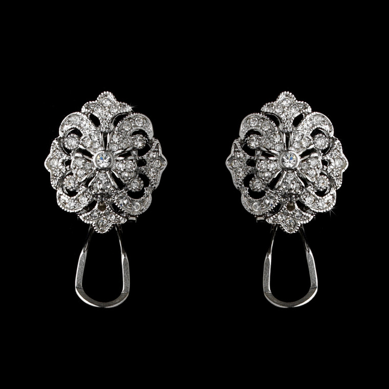 Silver Plated CZ Brocade Bridal Earrings