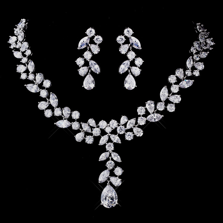 Silver Plated CZ Necklace and Earring Wedding Jewelry Set