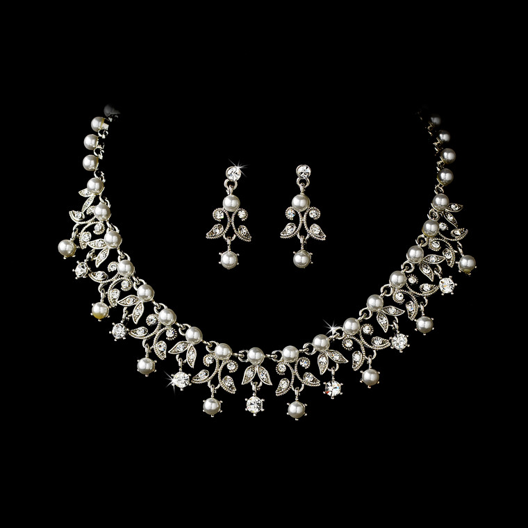 Silver Plated White Pearl Bridal Jewelry Set