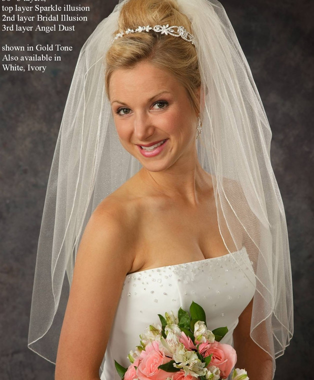 Sparkling Three Layer Bridal Veil v5236 with Angel Dust Tulle