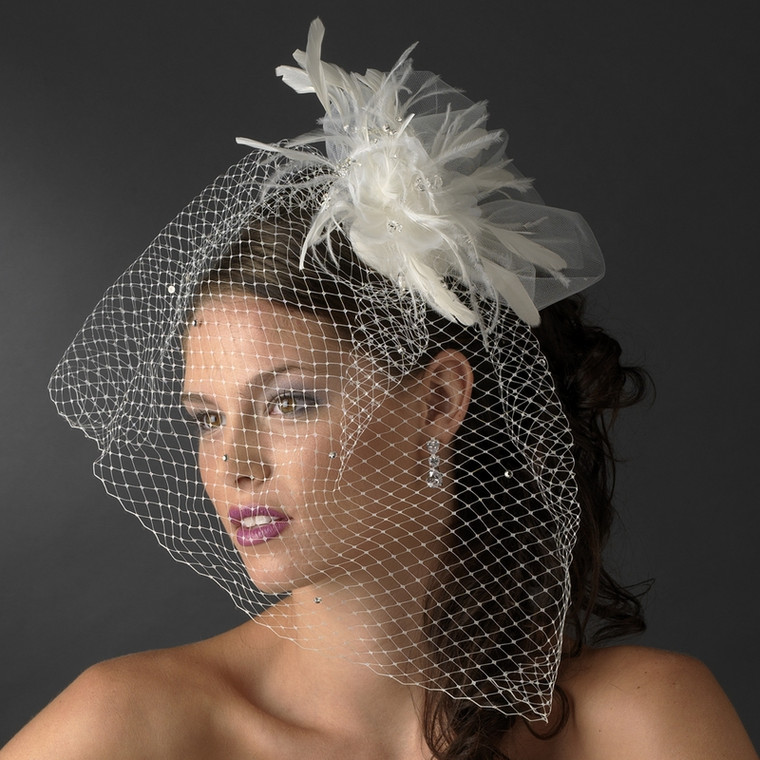 Stunning Birdcage Veil with Feather Fascinator - sale!
