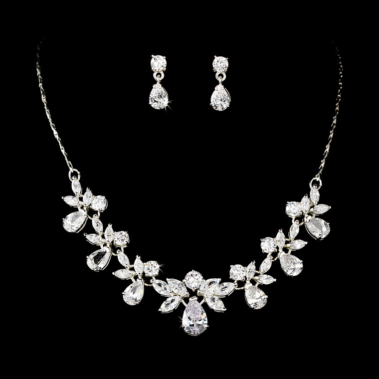 Stunning CZ Crystal Bridal Necklace and Earring Jewelry Set