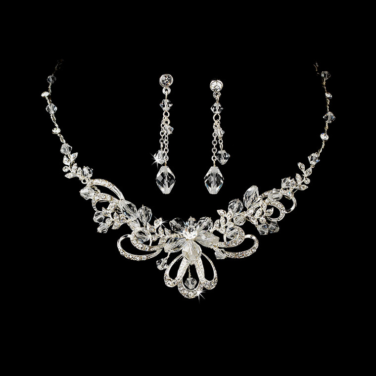Crystal Silver Plated Bridal Jewelry Set