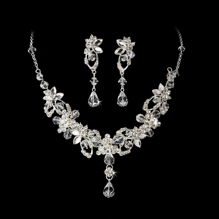 Enchanting Silver Plated Crystal Vine Bridal Jewelry Set
